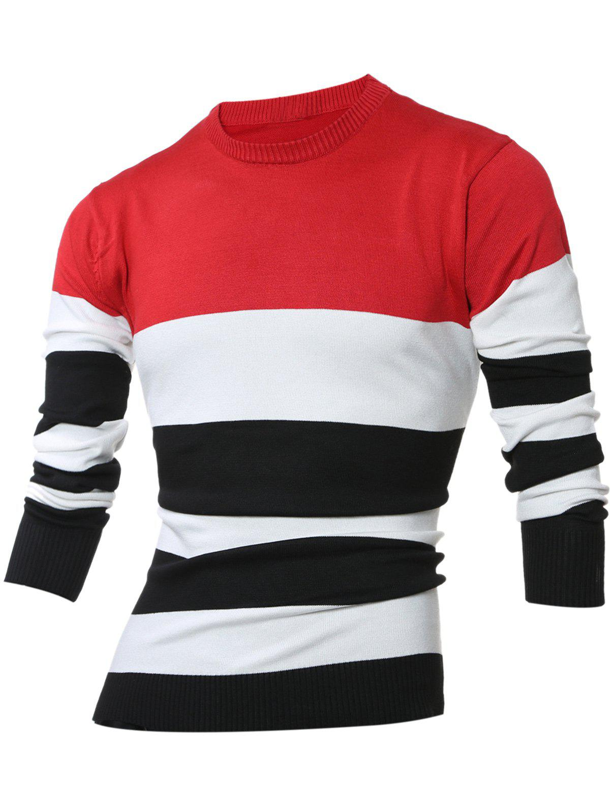 Sale Crew Neck Color Block Stripes Sweater
