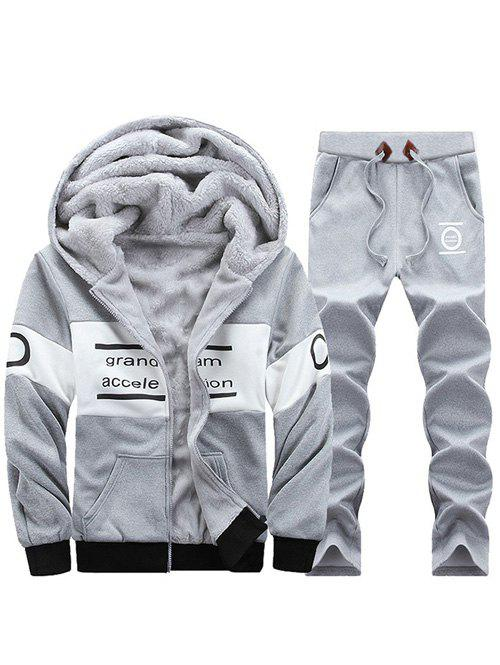 Latest Graphic Flocking Hoodie and Drawstring Pants Twinset