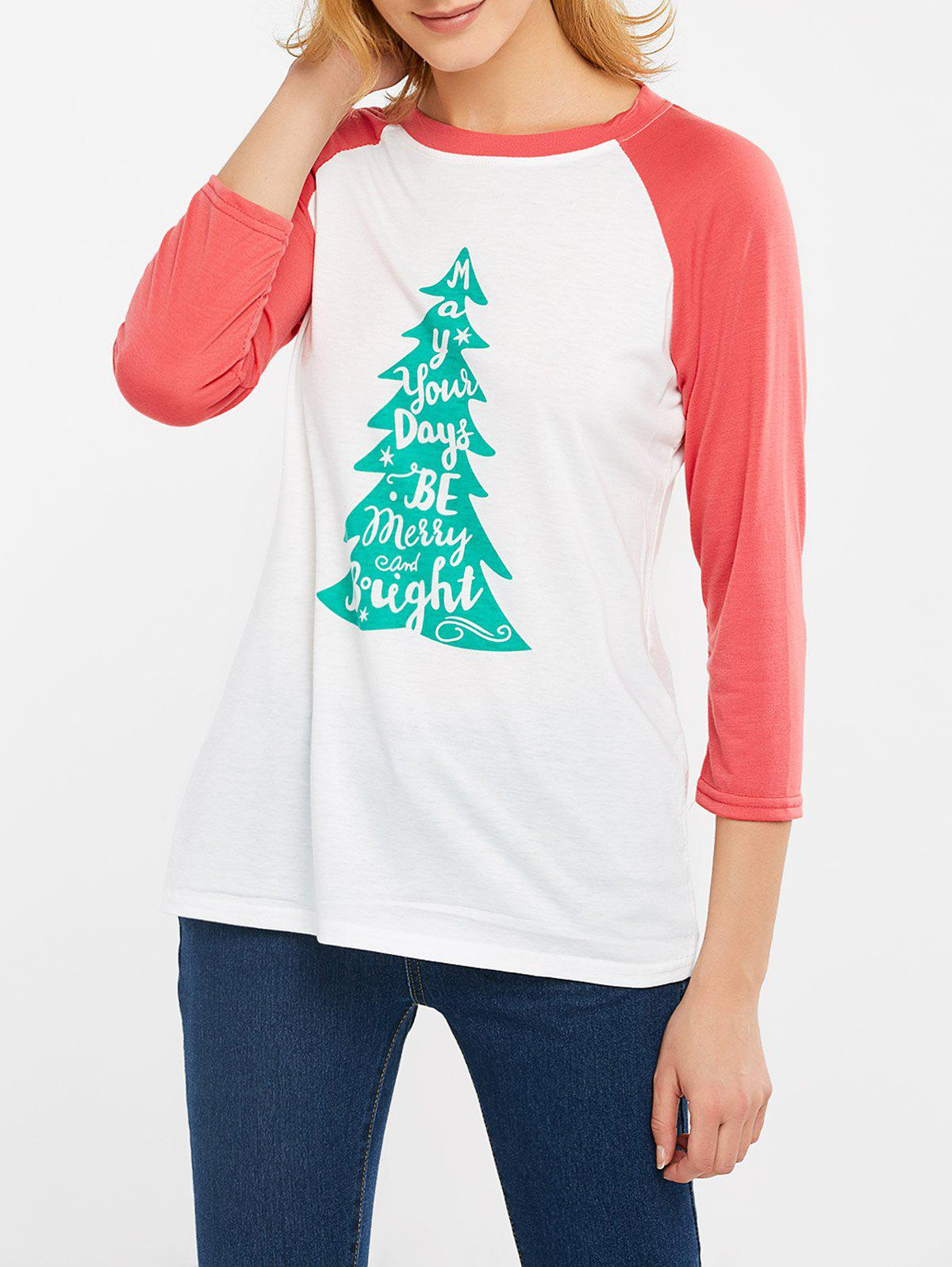 Best Christmas Tree Print Color Block T-Shirt