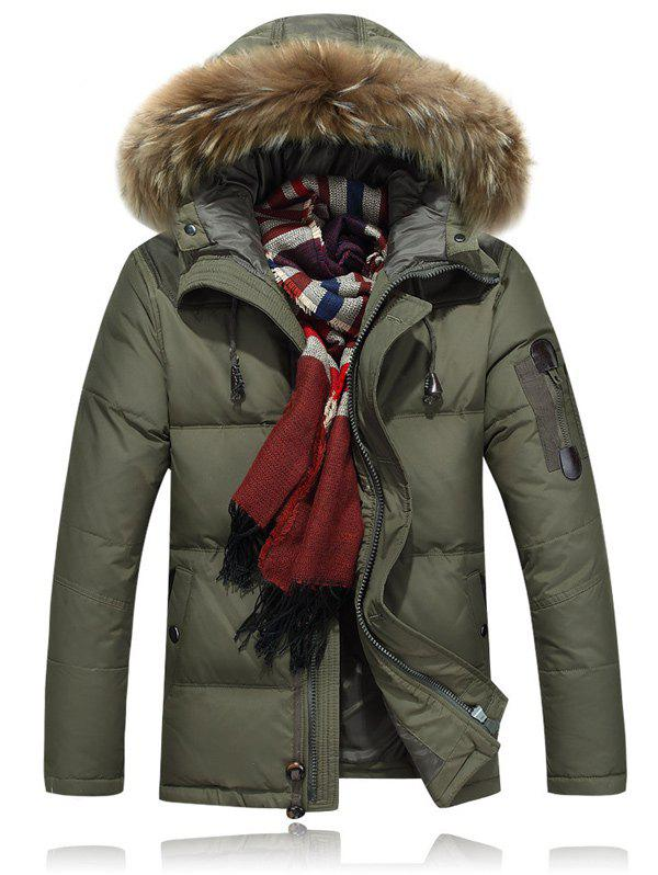 New Zipper Up Quilted Jacket with Fur Trim Hood