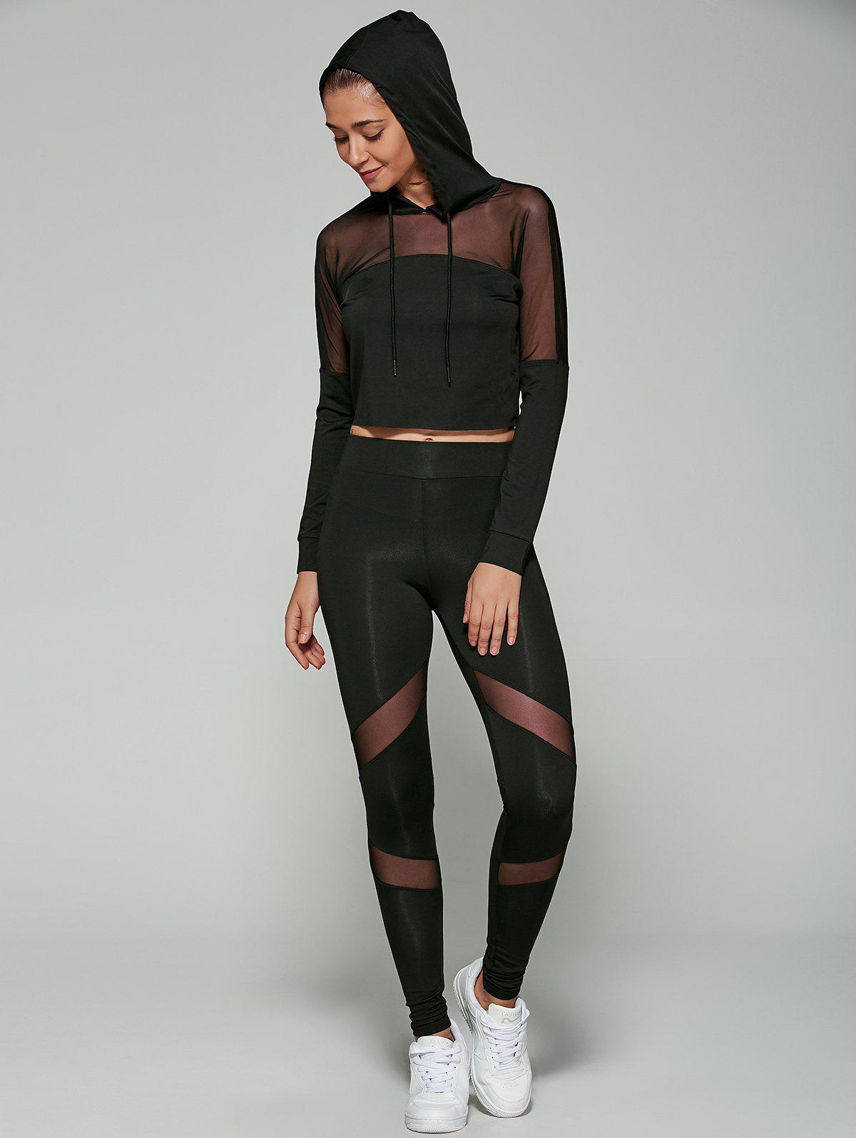 Fashion Slimming Cropped Hoodie with Mesh Spliced Leggings