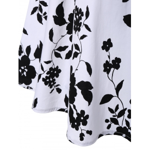 Sleeveless Shirred Floral Print Swing Dress Vintage Prom Dresses - WHITE L