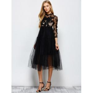 Long Sleeve Sequins Tulle Evening Dress with Bralet Top - BLACK M