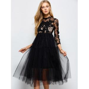 Long Sleeve Lace Sequins Tulle Evening Dress with Bralet Top -