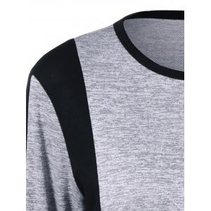 Contrast Trim Pockets Design Longline T-Shirt - BLACK AND GREY M