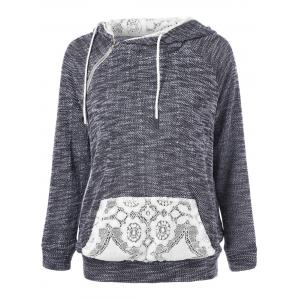 Lace Trim Kangaroo Pocket Hoodie - Grey And White - M