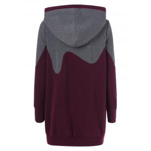 Color Block Vertical Pockets Longline Hoodie - GRAY/RED XL
