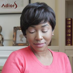 Adiors Side Bang Straight Heat Resistant Synthetic Short Wig - BLACK BROWN