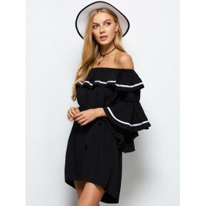 High Low Flounce Off The Shoulder Dress -