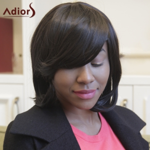 Adiors Straight Short Side Bang Bob Synthetic Wig -