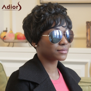 Adiors Pixie Cut Short Curly Neat Bang Synthetic Wig -