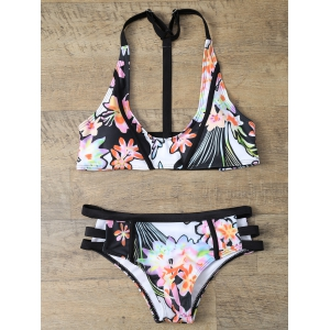Halter Cut Out Floral Bikini Set