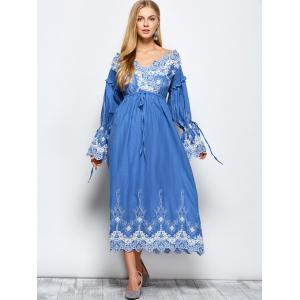 Floral Embroidered Midi Long Sleeve Swing Dress -