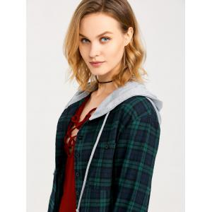 Button Up Hooded Flannel Plaid Shirt -