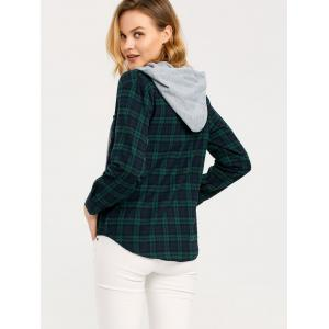 Button Up Hooded Flannel Plaid Shirt - BLACKISH GREEN XL