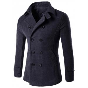 Double Breasted Woolen Blends Coat - Deep Gray - M