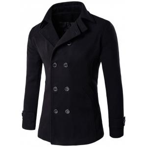 Double Breasted Woolen Blends Coat - Black - Xl