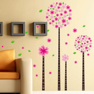 DIY Flower Removable Decorative Wall Stickers - Pink - 60*90cm