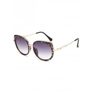 Metal Full Rims Floral Cat Eye Sunglasses - Black