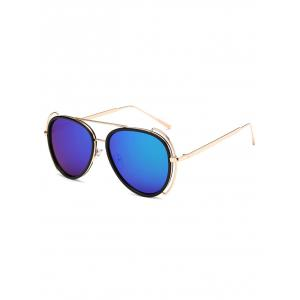 Hollow Out Frame Crossbar Pilot Mirrored Sunglasses