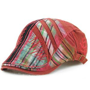 Plaid Stripy Cabbie Newsboy Cap with Sewing Thread