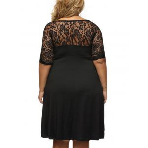 Plus Size Surplice Dress with Lace Trim -