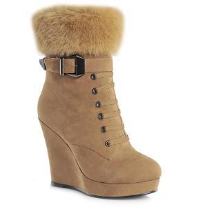 Faux Fur Suede Belt Buckle Short Boots - Light Brown - 38