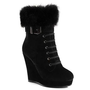 Faux Fur Suede Belt Buckle Short Boots - Black - 39