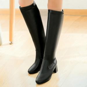 PU Leather Chunky Heel Knee High Boots - BLACK 39