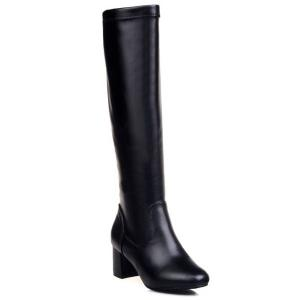 PU Leather Chunky Heel Knee High Boots