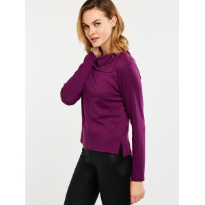 Cowl Neck Buttoned Slit Long Sleeve T-Shirt - PURPLE 2XL