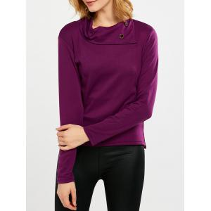 Cowl Neck Buttoned Slit Long Sleeve T-Shirt - Purple - Xl