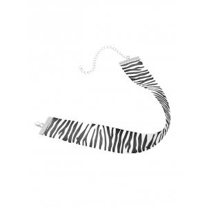 Zebra Stripe Cloth Choker Necklace - BLACK