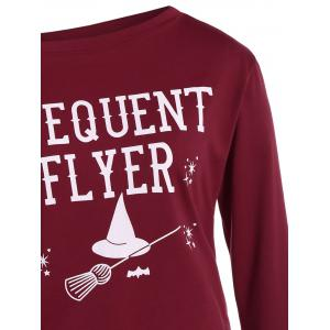 Plus Size Skew Neck Frequent Flyer Print T-Shirt -