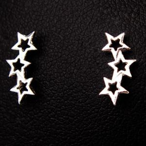 Star Hollow Out Stud Earrings - SILVER