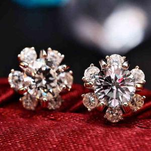 Snowflake Faux Diamond Stud Earrings - SILVER