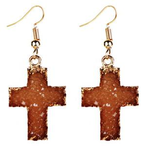 Artificial Gemstone Cross Drop Earrings