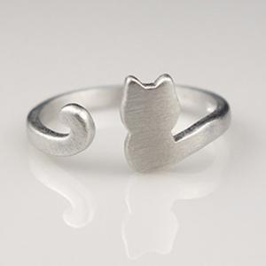 Cat Shape Cuff Ring - Silver