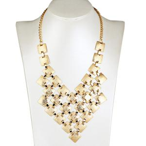 Tiered Frosted Square Metallic Necklace - Golden - 8
