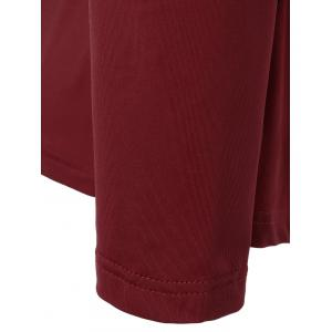 V Neck Plus Size Tee With Lace Insert - WINE RED 3XL