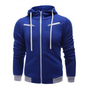 Full Zip Color Block Hoodie - BLUE 2XL