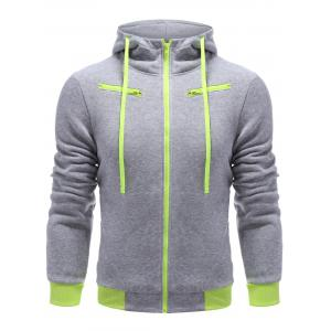 Full Zip Color Block Hoodie