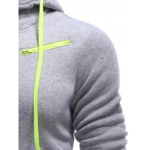 Full Zip Color Block Hoodie - LIGHT GRAY L