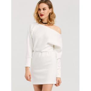 Mini Skew Collar Long Sleeve Dress - WHITE XL