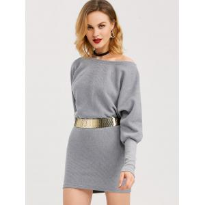 Mini Skew Collar Batwing Long Sleeve Dress -