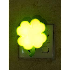 USB Clover Shape Sensor Room Bedside LED Night Light - White And Green