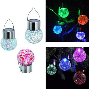 4PCS/Set Solar Power Courtyard Hanging Crack Bulb Light - Colorful