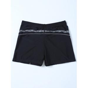 Chevron Graphic Contrast Swim Bottom Boyshorts - BLACK 4XL
