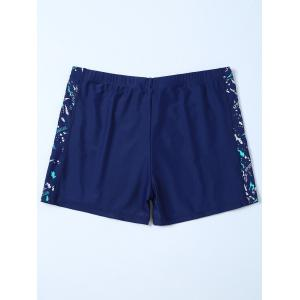 Sports Graphic Zip Printed Swim Bottom Boyshorts - DEEP BLUE 4XL