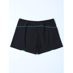Contrast Insert Swim Bottoms Boyshorts - BLACK 3XL